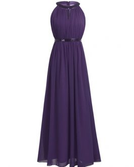 A Line Halter Neck Floor Length Zipper Matte Satin Prom Bridesmaid Dress