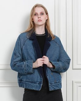 Artificial Sherpa and Quilted Lining Long Sleeve Denim Jacket