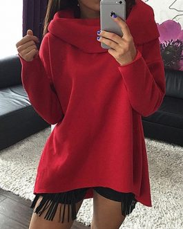 Asymmetrical Cowl Neck Long Sleeved Sweatshirt
