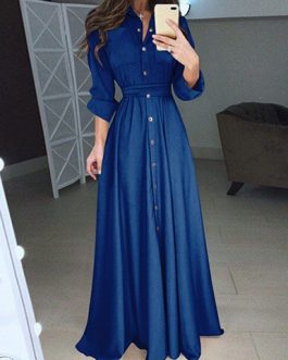 Belted Waist Floor Length Maxi Dress
