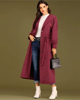 Bishop Sleeve Single Breasted Drawstring Trench Long Coat