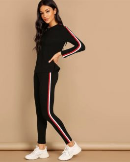 Black Striped Pants Long Sleeve Round Neck Two piece Set