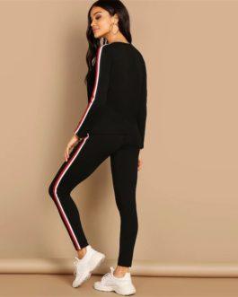 Black Striped Pants Long Sleeve Round Neck Two piece Set