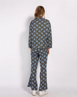 Blouse And Ankle Length Pants With Belt Floral Outfits