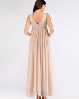 Bridesmaid Dress A Line Floor Length Backless Chiffon Formal Gowns