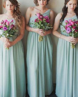 Bridesmaid Dresses Chiffon One Shoulder A Line Floor Length Wedding Party Dress