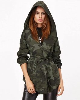 Camo Print Hooded Shawl Collar Streetwear Belted Wrap Jacket