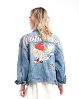 Casual Embroidery Long Sleeve Denim Fancy Jacket