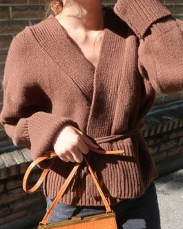 Casual Knitting V-Neck Minimalist Belt Lace Up Solid Sweater