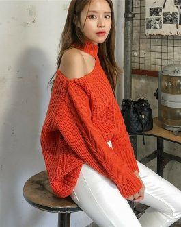 Casual Minimalist Sexy Knitting Off Shoulder Sweaters