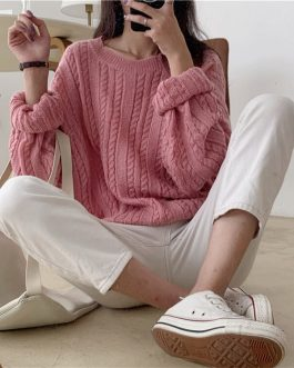 Casual Pullovers Minimalist Knitting Elegant Loose Sweaters