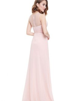 Chiffon A Line Illusion Sleeveless Pleated Floor Length Party Evening Bridesmaid Dresses