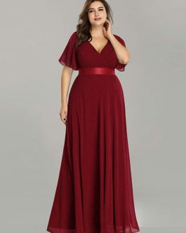 Chiffon A Line V Neck Short Sleeve Floor Length Wedding Party Bridesmaid Dress
