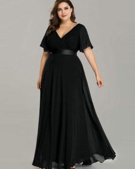 Chiffon A Line V Neck Short Sleeve Floor Length Wedding Party Bridesmaid Dress