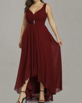 Chiffon A Line V neck Asymmetrical Prom Wedding Party Plus Size Bridesmaid Dress