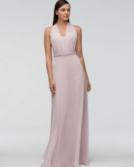 Chiffon Floor Length Wedding Halter Backless A Line Occasion Party Bridesmaid Dress