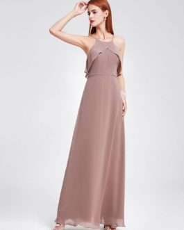 Chiffon Halter Sleeveless Backless Ruffles A Line Floor Length Party Prom Bridesmaid Dresses