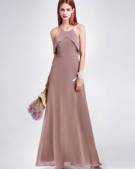 Chiffon Halter Sleeveless Backless Ruffles A Line Floor Length Party Prom Bridesmaid Dresses
