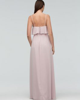 Chiffon Maxi Wedding Party Backless Straps A Line Occasion Bridesmaid Dress