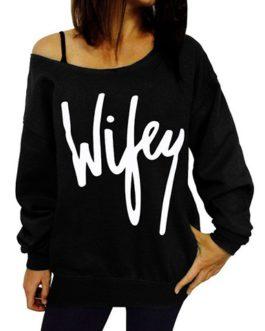Cold Shoulder Wifey Logo Sweatshirt