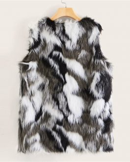 Colorblock Faux Fur Sleeveless Glamorous Jackets