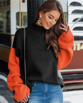 Colorblock Long Sleeve High Neck Casual Sweater
