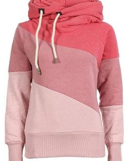 Diagonal Color Block Fleece Hoodie