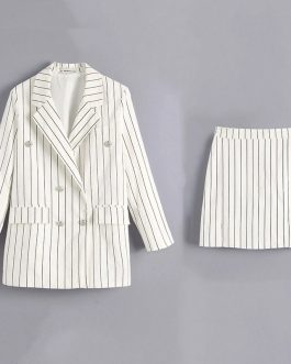 Double Breasted Blazer And Skirt 2 Pieces Sets