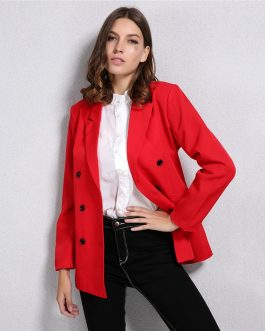 Double-Breasted Button Notched Collar Office Work Blazer