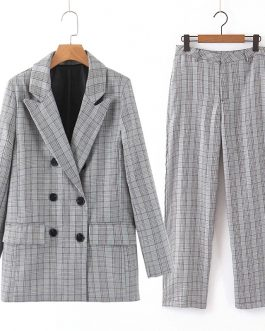 Double Breasted Checked Suit And Trousers 2 pieces Sets