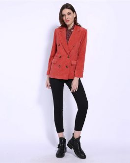 Double Breasted Elegant Streetwear Corduroy Blazer