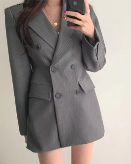 Double-breasted Long Sleeve Notched Collar Office Ladies Blazers