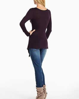 Drape Neckline Long Sleeve Shirt