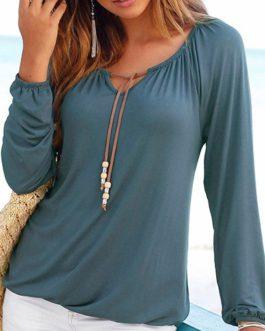 Drawstring Neckline Long Sleeves Blouse