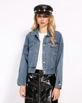 Drop Shoulder Jeans Cropped Street wear Denim Jacket