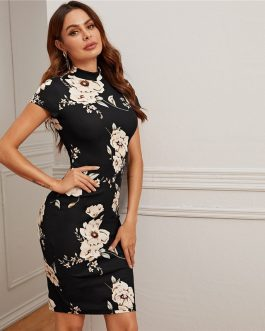 Elegant Mock-Neck Floral Print Bodycon Dresses