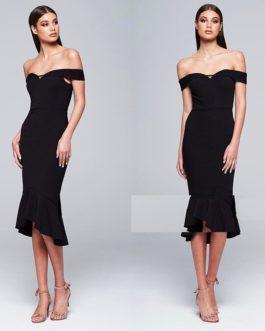 Elegant Off Shoulder Ruffles Mermaid Dress