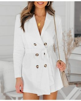 Elegant Office Lady Bow Long Trench Coat