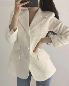 Elegant Pearls Button OL Style Plaid Long Sleeve Blazers