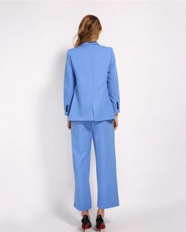 Elegant Suit And  High Waist Trousers Outfits