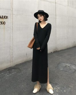 Elegant V-Neck Slit Casual Straight Bottoming Knitted Dress