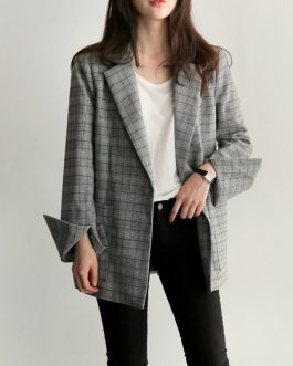 Fashion Bow Sashes Split Sleeve Plaid Office Lady Blazer