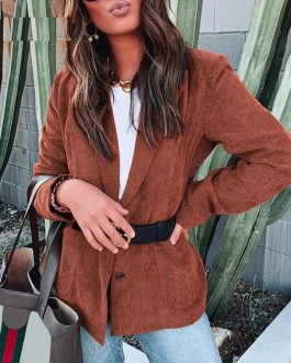 Fashion Corduroy Long Sleeve Thin High Street Blazer
