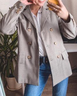 Fashion Double Breasted Classic Plaid Blazer