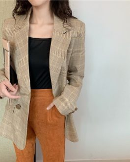 Fashion Plaid Notched Collar Double-breasted Casual Blazer