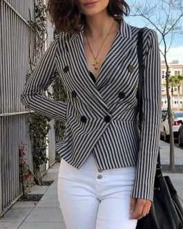Fashion Stripe Long Sleeve Slim Double Button Short Blazer