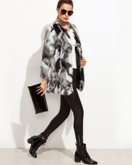 Faux Fur Color Block Open Front Fashion Long Sleeve Fuzzy Coat