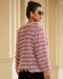 Faux Fur Open Front Solid Glamorous Warm Coat