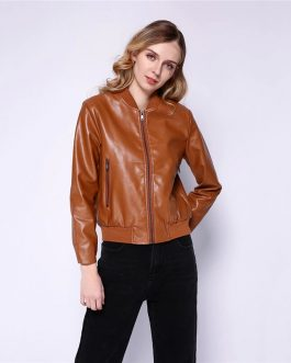Faux Leather High Street Trendy Zip Up PU Coat