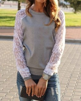 Feminine Lace Sleeves Sweatshirt